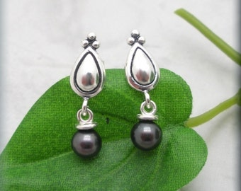 Black Pearl Earrings Pear Post Setting Sterling Silver Studs Pearl Jewelry Dangle Earrings Pearl Drops Mothers Day (SE617)