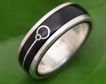 Union Tierra - ecofriendly black coyol seed wood ring with recycled sterling inlay, wood wedding ring, unique symbol, wood band