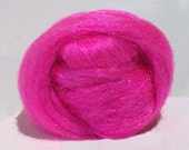 Fuchsia Firestar roving, Needle Wet Nuno Felting Spinning Fiber .5 oz bright hot pink Barbie pink, light magenta