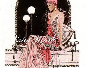 Digital download instant*Digita scan*Art deco girl in pink*OOO she is a beauty*Collage,sewing.frame,digital scan,tags,cards