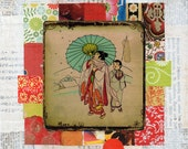altered vintage japanese illustration woman in kimono with child on mixed media collage : peaceful Japan.2