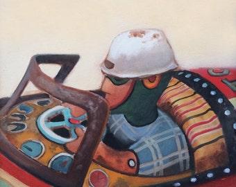 Racing Car Vintager Antique Tin Toy, Original Oil Painting