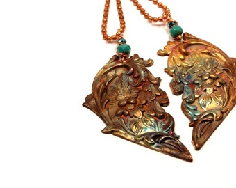 Flame Painted Copper Hearts Necklaces Half Pairs Best Friends Floral Brass Stamping Copper Ball Chain Colorful Rainow Turquoise Purple Blue