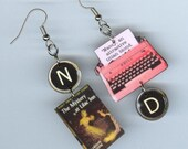 Book cover Earrings - Nancy Drew quote -Typewriter jewelry - The Mystery at Lilac Inn - mystery lovers gift - book club
