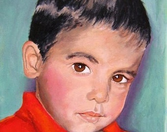 Original Custom Portrait Painting from your own photo, oil painting on canvas, eg boy in red shirt, children, family, friends, gift