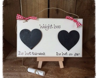 Weight Loss Countdown Plaque Sign Handmade Chalkboard Motivation Slimming Diet Gift