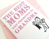 The Best Moms Get Promoted to Grandma. Baby Annoucement Card. Pregnancy Announcement Card. Grandma Announcement Card. First Grandbaby Card.
