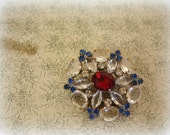 vintage czech rhinestone button embellishment . crystal with blue and red