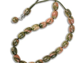Worry Beads Greek Komboloi - Unakite gemstone Barrel Shape