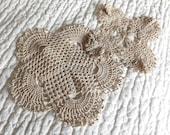 vintage linens - doilies in ivory - vintage doilies in tea stained lace - doilies lot - two lace doilies