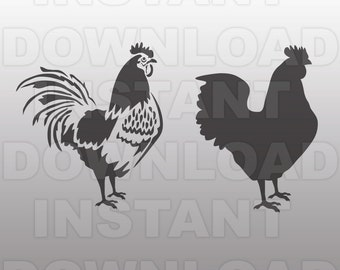 Chicken Livestock Farm Hen Rooster SVG File Cutting Template-Clip Art for Commercial & Personal Use-Cricut,SCAL,Cameo,Sizzix,Pazzles,Vinyl