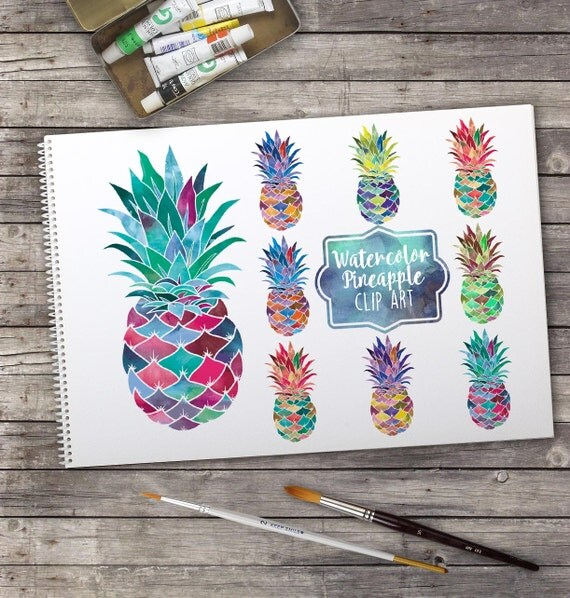 Digital clip art | Watercolor pineapples | Set of 8 ...
