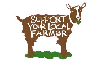 Support your local Farmer bumper sticker brown & white goat die cut decal