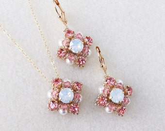 Rose Peach and White Opal Swarovski Rhinestone Pendant and Earring Set, Coral Weddings, Bridesmaid Necklace and Earring Set, Chatons