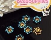 FG-EX-08003SB- Nickel Free, Raw Brass, Flower bud beadcap,sky blue, 12pcs