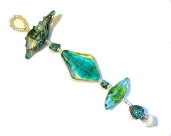 Aqua & green sun catcher Handmade Lampwork Glass Beads, window ornament, abstract glass decoration glassbead, lamp work, Isinglass Design