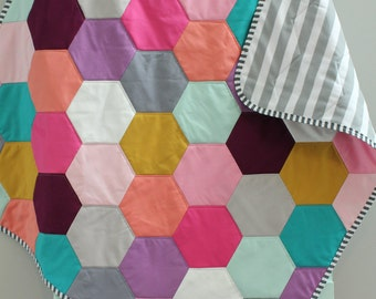 Baby QUILT hexagon hex modern hipster PETUNIAS - heirloom vintge style blanket nursery decor vintage newborn shower gift room crib bedding