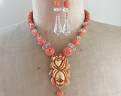 SALE Repurposed Vintage Celluloid and Crystal Necklace and Earring Set - Coral