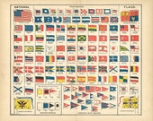 vintage flag illustration from 1904, in 600dpi, to print out large 20 x 13 inches at least, printable vintage image