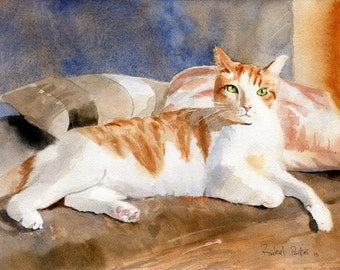 Tabby cat Art Print of a watercolor painting Big Large Huge Cat  Lover Gift Yellow Marmalade Orange White pet portrait custom Caliby BiColor