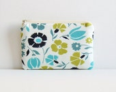 Coin Purse, Small Zipper Pouch, Women and Teens, Light Blue Tossed Floral, Denyse Schmidt, Meadowlark