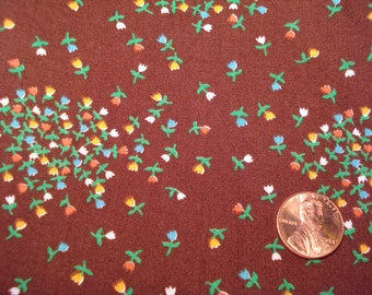 QUARTER YARD brown floral calico fabric DOLL Blythe sewing quilt quilter quilting tiny print
