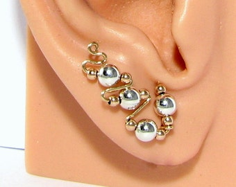 Tri Tone Rose Gold, Yellow Gold and Sterling Silver  Ear Sweeps, Ear Climbers