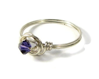 Sterling Silver Ring Purple Velvet Swarovski Crystal Bead Wire Wrapped