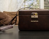 Olympus Vintage Style Camera Bag Hipster Purse / Hard Case - Brown Faux Leather Crossbody with Strap and Lock