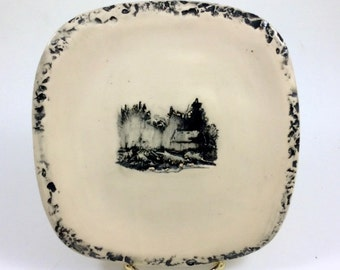 Log Cabin Ceramic Plate Handmade Clay Pottery