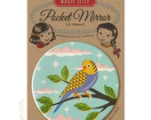 Pocket Mirror 3.5 inch - Budgie
