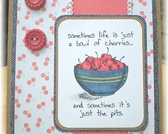 Cherry Themed Encouragement Card, Cards for Friends, Bowl of Cherries Card