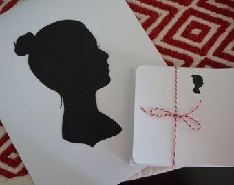 Silhouette, Custom + Stationery Bundle, Custom Silhouette, Note Cards