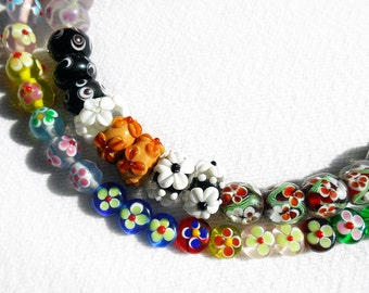 Lampwork bead orphans 80 artisan bead lot - Destash sale - Clearance - mostly floral