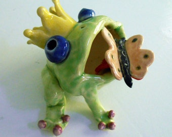 Hand sculpted King Lime Green Clay Frog with Pink Butterfly