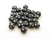 Matte Jet Black Square Czech Glass Beads with Vitrail Peacock Dots, 6mm - 25 pieces