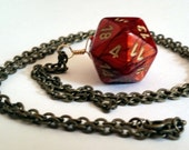 Dice Pendant Necklace - Red Gold Swirl D20 Twenty Sided Dice Jewelry - Geeky Gamer Jewelry