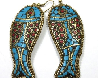 SJK Vintage -- Tibet or Nepal Brass Turquoise and Red Stone Chip Mosaic Fish Earrings (1970's-80's)