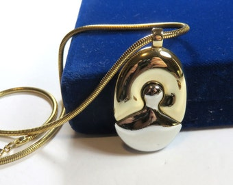 SJK Vintage -- Lanvin Paris Signed Modernist Runway Pendant in Gold and Silver Tone (1960's)