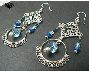 SALE 40% OFF - Summer Silver and Crystal Blue Earrings