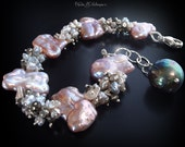 RESERVED for A - Baroque Pearl Bracelet with Saltwater Keishi, Kasumi Pearl, and Pyrite