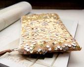 Wedding Clutch Purse, Linen and gold Sequins Clutch, Modern sparkle Bridal Clutch Purse