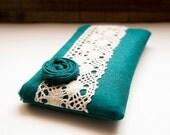 Lace Wedding Clutch Purse, Teal Linen Bridal Lace Clutch Purse, Rosette Lace