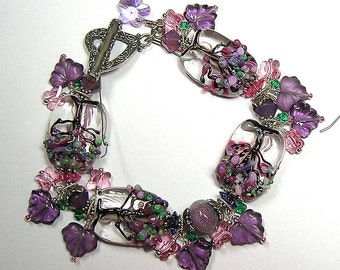 PiNK aND PuRPLe TRee oF LiFe Handcrafted Lampwork Art Glass Earrings Pendant and Bracelet Set by GLiTTeRBuG oRiGiNaLS SRAJD