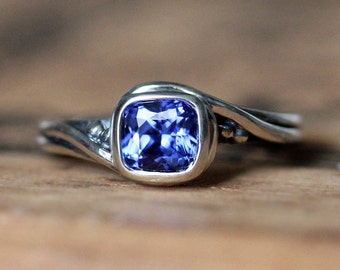 Blue sapphire ring, sapphire engagement ring, unique engagement ring, silver engagement ring, promise ring, saphire ring, Pirouette sz 7