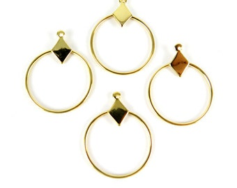 Vintage Gold Plated Diamond Circle Hoop Charms (8X) (V492)