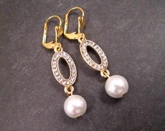 Pearl and Rhinestone Earrings, White Glass Pearls and Rhinestones, Gold Dangle Earrings, FREE Shipping U.S.