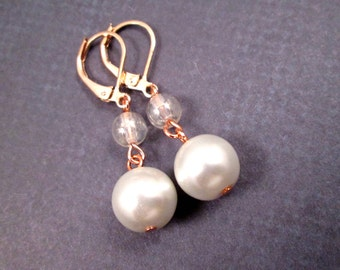 Pearl Earrings, Luster Glass and White Pearls, Rose Gold Tone, Copper Dangle Earrings, FREE Shipping U.S.