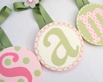 Round Baby Nursery Kids Children's Hanging WALL LETTERS