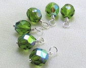 Olivine Glass Beaded Charm Dangles, Olivine Green Aurora Borealis, Wire Wrapped 6pc Set, Jewelry Components, Earring Findings